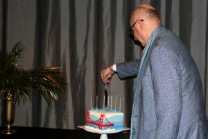 Martin Leak cuts his cake